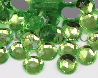 "11mm 7/16"" Green Lime Peridot A15 Round Acrylic Gems High Quality For Jewelry Making - 100 Pieces"