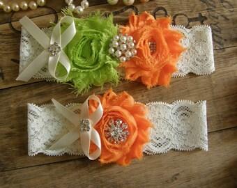 Lime Green & Orange Wedding Garters / Garter / Bridal Garter / Toss Garter / Vintage Inspired / Garter Set