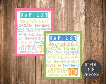 LDS Baptism Printable Subway Art- 5x7 and 8x10 sized