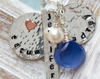Personalized Mommy Necklace, Birthstone Necklace, 3 Name Necklace, Wire Wrapped Necklace, Personalized Necklace Mom