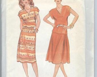 1980s Dress Pattern Butterick 4268 Skirt Top Short Sleeves Vintage Womens Sewing Patterns Size 18-22 uncut