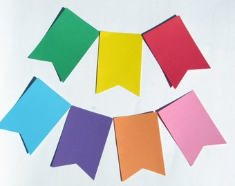 "Flag Pennant die cuts/ banner die cuts/straight edge pennant/ size from 1.5"" to 8"" tall/ chose your color"