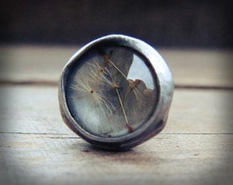 Dandelion ring Terrarium ring Handmade Rustic ring Real flower ring Adjustable ring Statement ring