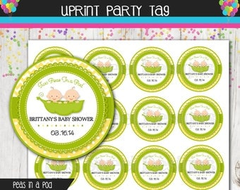 Baby Shower - 2.5 inch Party Circle - Favor Tag - Cupcake Topper -  Two Peas in a Pod - 2 Peas in a Pod - Yellow - Green - Dot - Chevron