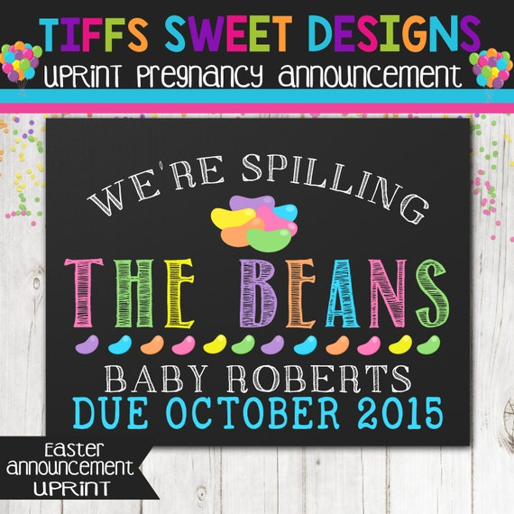 Easter Pregnancy Announcement Chalkboard Poster Printable – Baby Announcement Candy