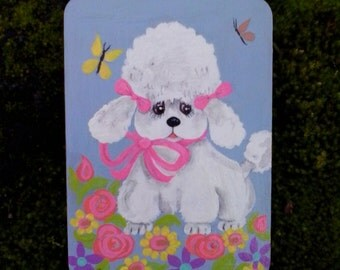 60s style white poodle painting