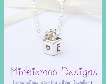 Personalised initial necklace, Dainty personalised pendant, cube shape, monogram initals, discreet jewellery, gift for her, lasting keepsake