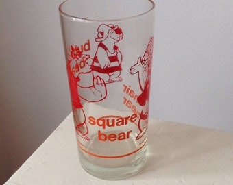 Hanna Barbera Vintage Hair Bear Bunch Glass Tumbler / 1972