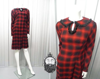 Vintage 40's Dress • Checked Dress • Peter Pan Dress • 1940s Dress Small Old Hollywood • Womens 1940s Dresses 1950s dress 50s dress