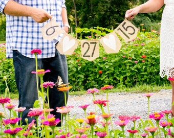 Save the Date Burlap Bunting Banner,engagement photo prop