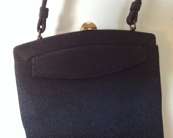 Vintage Purse Black Linen, Crown Lewis High Fashion Handbag, MidCentury Fashion Accessories