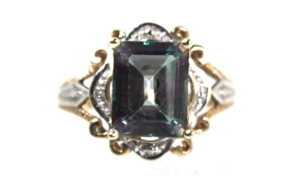 mystic topaz emerald cut ring solid 10k yellow by
