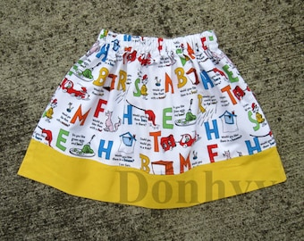 Girl's Dr Seuss Inspired Skirt. Alphabet Skirts for Kids. Back to School Skirt in All Sizes: 6 Months_8