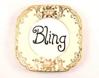 Bling Ornamental Vintage Floral Saucer Decorative Gangster Display Dish Hiphop Ironic Decoration Bone China Funny Gift Ring Holder earring