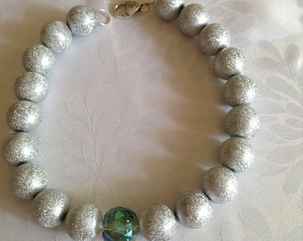 """Funky silver acrylic and crystal """"Wilma and Betty"""" necklace. Choker length. Big bold 18mm beads."""