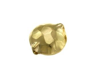 Karen Hill Tribe silver Gold vermeil Hammered Disk Bead, 12.2 mm ( 4 pieces )