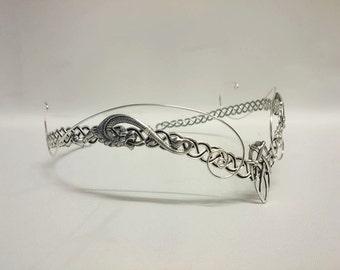 Medieval elven Pagan Viking crown tiara silver circlet headpiece tiara celtic Dragon larp