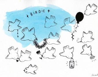 Birdie - hand-painted print