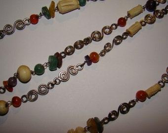Necklace Vintage Multi Gemstone Bone and Metal