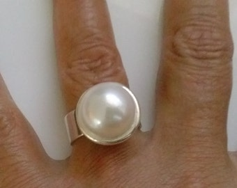 Large Silver Pearl ring  Handmade with sterling silver and white fresh water Pearl, Cocktail, Wedding, Engagement, Bridal  Jewelry