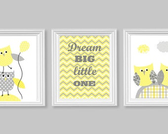 Gray and Yellow Nursery Art Owls Gender Neutral Room Decor Dream Big Little One Chevron Playroom Wall Art Baby Shower Gift Toddler Set of 3