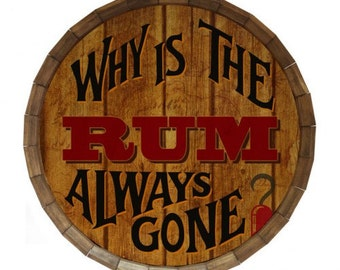 Why is the Rum Always Gone Barrel Top Tavern Sign