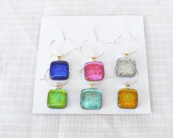 Fused Dichroic Glass Wine Glass Charms, Wine Glass Markers