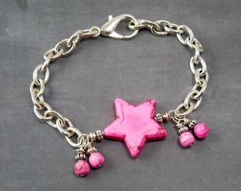 Pink Magnesite Star Bracelet
