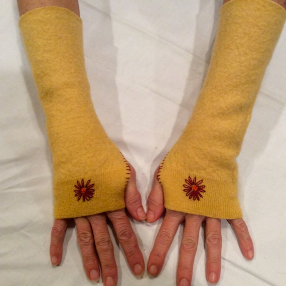Upcycled Sunshine Yellow Wool Fingerless Gloves with Flower Embroidery Fingerless Mittens Arm Warmers Repurposed Recycled