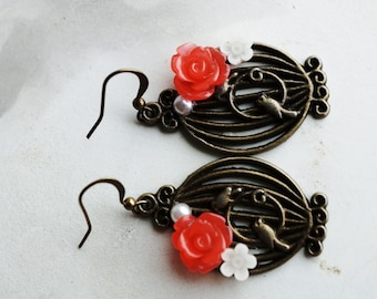 Earrings, Bronze birdcage coral floral earrings.