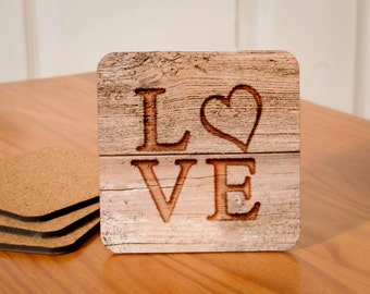 Love Coasters (designed to look wood carved) - set of 4