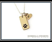 Paw Print Necklace with Heart, Dog Necklace,Cat Necklace, Pet Memorial Necklace, Animal Lover Necklace