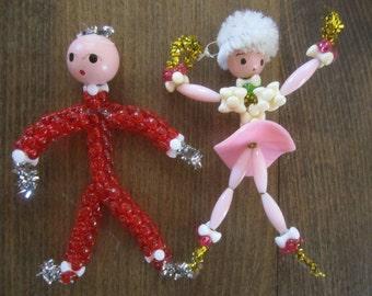 Christmas Bead Hand-Painted Ornaments Vintage