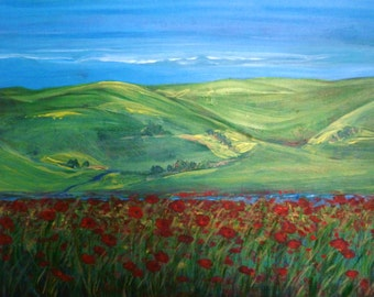 Poppies and Rolling Hills - Fine Art