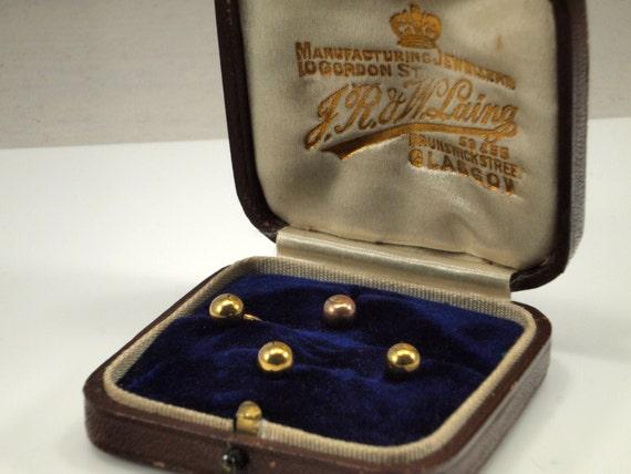 Solid gold dress studs mens antique shirt studs 9ct for Dress shirt studs uk