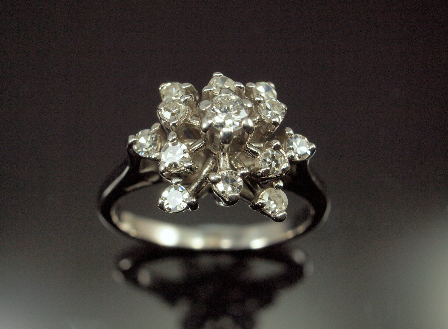 Diamond snowflake ring cluster engagement ring vintage 18k for Cluster wedding rings