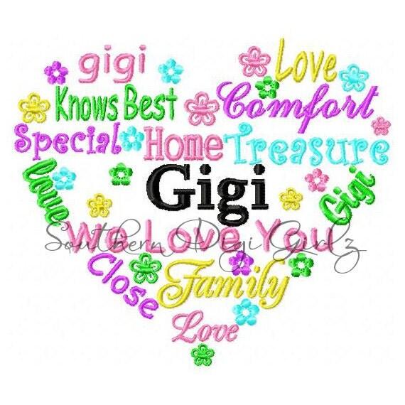 Gigi Heart Word Art Embroidery Design INSTANT DOWNLOAD