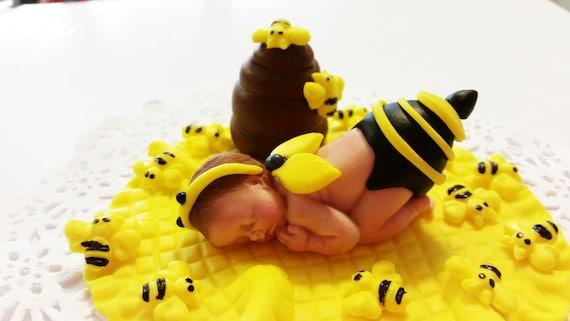 Baby Bumble Bee Sleeping On A Yellow Blanket With Little