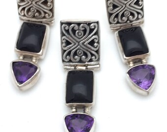 3 Piece Onyx and Amethyst Earrings and Pendant