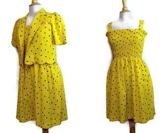 80s Yellow Dress Set / 1980s Sundress / Cotton Halter Dress with Bolero Jacket Womens S M