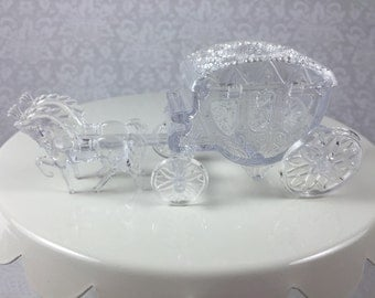 4 Clear Horse Drawn Cinderella Coach Carriage - Wedding, Quinceanera, Princess Party Cake Topper, Favor, Candy Container, Table Centerpiece
