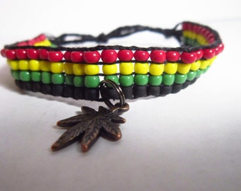 Rasta Friendship Bracelet With Cannabis Charm