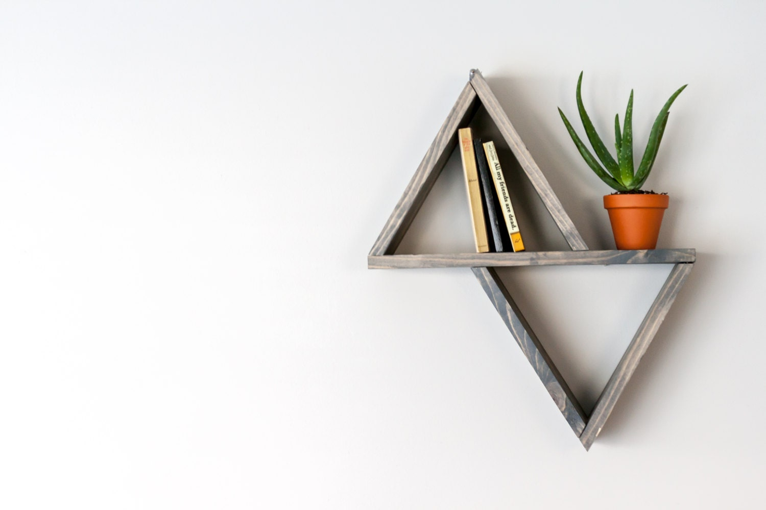Floating shelves triangle shelves mid century modern - Triangular bookshelf ...