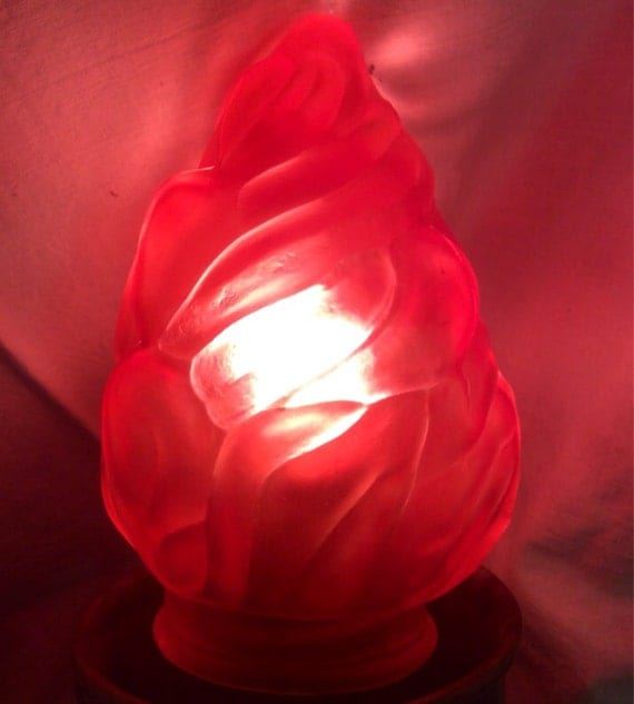 Vintage Retro Lamp Globe Shade Torch Flame Chandelier Red