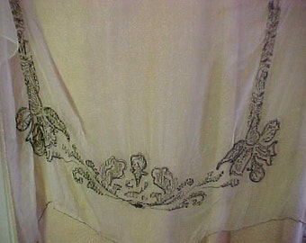 Antique Sheer Piece of Fabric with embrodiery done in  Black Jet Beads