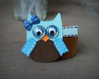 Owl Ribbon Sculpture Hair Clip, Woodland Creature Hair Bow