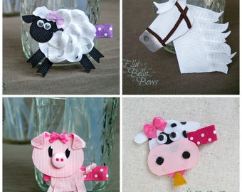 Farm Animal Collection Set, Ribbon Sculpture Hair Clips, Horse, Cow, Sheep, Pig, Hair Bows, SET OF 4