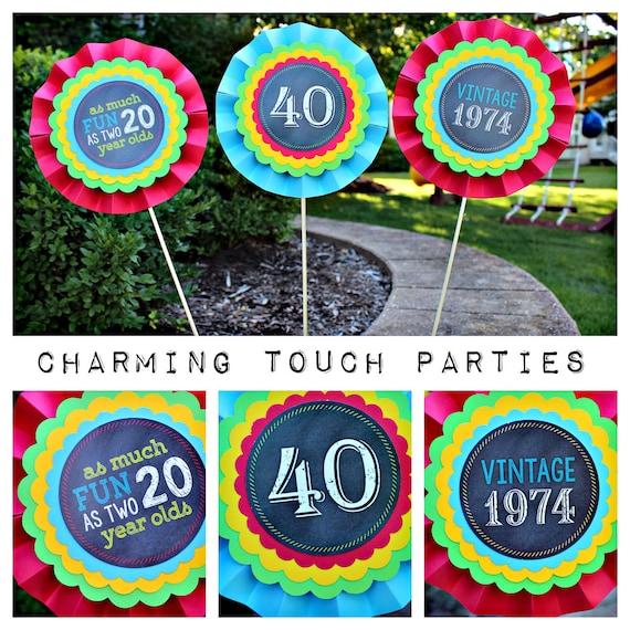 40th birthday party decor chalkboard centerpiece sticks for 40th birthday decoration packs