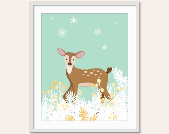 Woodland Nursery Decor, Baby Girl Nursery, Deer Nursery, Woodland Animals, Forest Friends, Pretty Nursery, Woodland Art