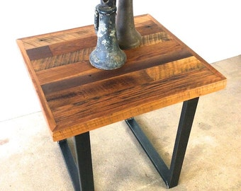 Reclaimed Wood Side Table / Industrial Metal U Shaped Legs / Patchwork Wood  Top